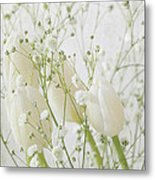 White Flowers Pi Metal Print