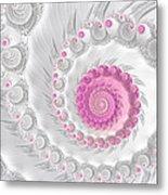 White Grey And Pink Fractal Spiral Art Metal Print