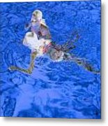 White Hair Blue Water 4 Metal Print