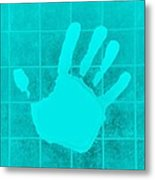 White Hand Aquamarine Metal Print