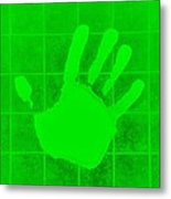 White Hand Green Metal Print