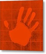 White Hand Orange Metal Print