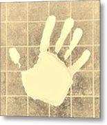 White Hand Sepia Metal Print