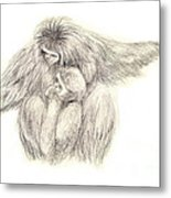 White Handed Gibbons--mother And Son Metal Print