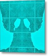 White Hands Aquamarine Metal Print