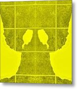 White Hands Yellow Metal Print
