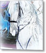 White Horse Abstract Metal Print