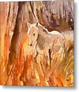 White Horse In The Camargue 01 Metal Print
