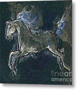 White Horse Minature Painting Metal Print