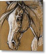 White Horse Soft Pastel Sketch Metal Print