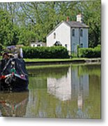 White House And House Boat Metal Print