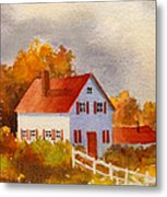 White House With Red Shutters Metal Print