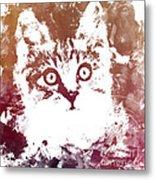 White Kitty Metal Print