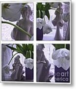 White Lace Picture Window Metal Print