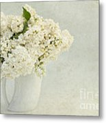 White Lilac In A Cream Jug Metal Print