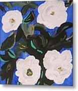 White Magnolias On Deep Blue Metal Print