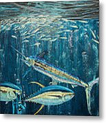 White Marlin Original Oil Painting 24x36in On Canvas Metal Print by Manuel Lopez