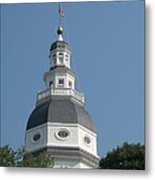 White Maryland State House Cupola Against Blue - Annapolis Metal Print
