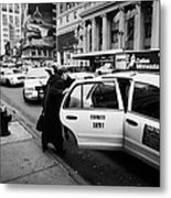 white middle aged passengers exit from yellow cab rear door at taxi rank on 7th Avenue Metal Print