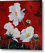 White On Red Poppies Metal Print