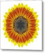 Orange And Yellow Sunflower I Flower Mandala White Metal Print