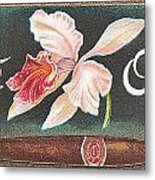 White Orchid Cigar Label Metal Print