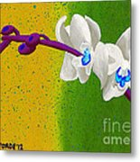 White Orchids On Yellow And Green Metal Print
