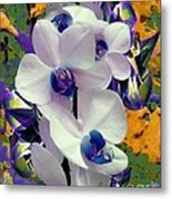 White Orchids With A Touch Of Purple Metal Print by Doris Wood