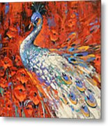 White Peacock And Poppies Metal Print