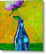 White Peony Into A Blue Bottle Metal Print