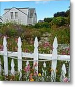 White Picket Fence In Mendocino Metal Print