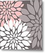 White Pink Gray Peony Flowers Metal Print