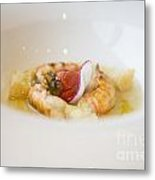 White Plate With Food Metal Print