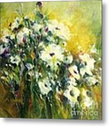 White Poppy Garden II Metal Print