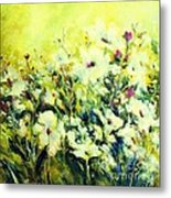 White Poppy Garden Metal Print