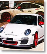 White Porsche Gt3rs Metal Print