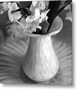 White Rays And Flowers Metal Print