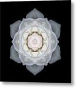 White Rose I Flower Mandala Metal Print