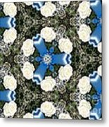 White Roses And Babys Breath Kaleidoscope Metal Print