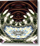 White Roses And Babys Breath Polar Coordinates Effect Metal Print