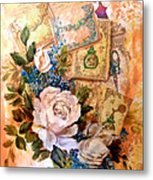 White Roses And Forget Me Nots On Decoupaged Background Metal Print