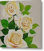 White Roses - Vertical Metal Print