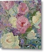White Roses And Statice Metal Print
