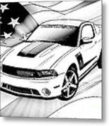 White Roush Mustang Metal Print