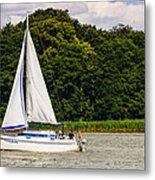 White Sailboat Metal Print