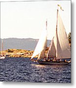 White Sails In The Sunset Metal Print