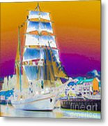 White Sails Ship And Colorful Background Metal Print