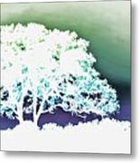 White Silhouette Of Oak Tree Against Blue And Green Watercolor Background Metal Print