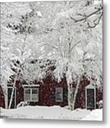 White Snow Covered Birches Metal Print