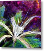 White Spider Flower On Orange And Plum - Vertical Metal Print